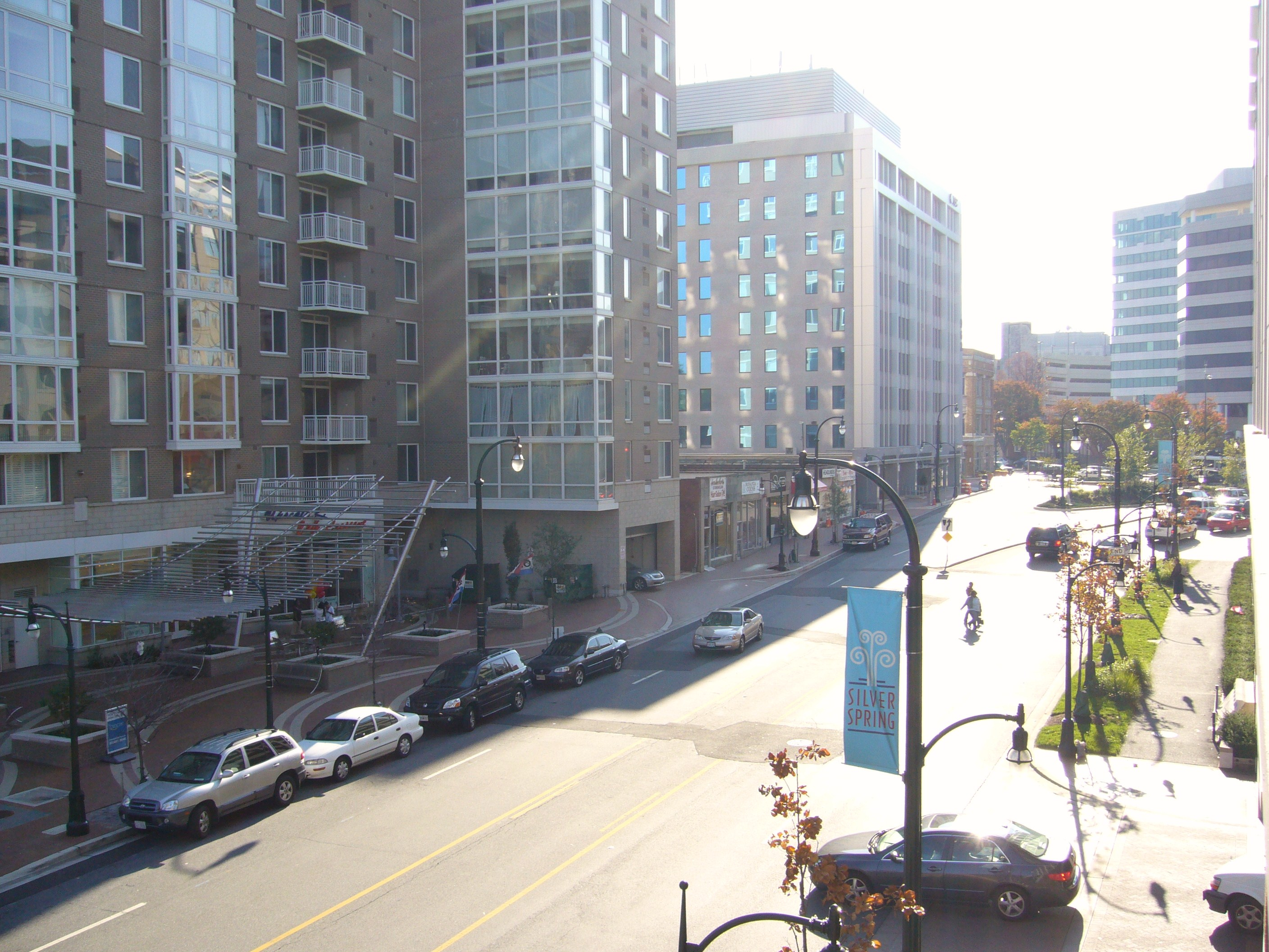 View Of Wayne Street In Downown Silver Spring, Maryland On A Sunny Day. Downtown  Silver Spring