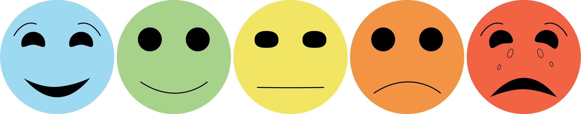 Pain scale represented by face icons used for medical diagnostics.